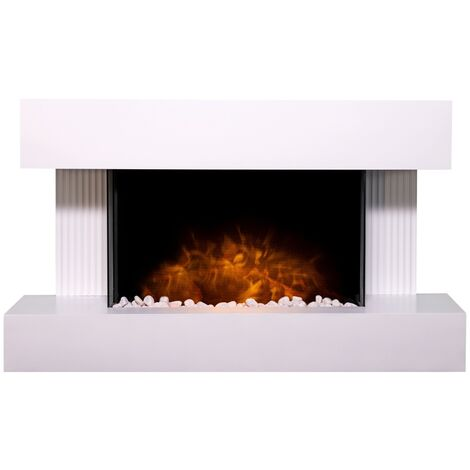 Adam Manola Wall Mounted Electric Fire Suite with Downlights & Remote Control in Pure White