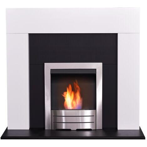 Adam Miami Fireplace in Pure White & Black with Colorado Bio Ethanol Fire in Brushed Steel, 48 Inch