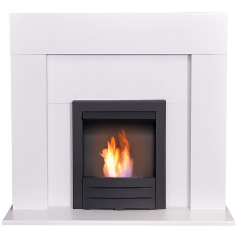 Adam Miami Fireplace in Pure White with Colorado Bio Ethanol Fire in Black, 48 Inch