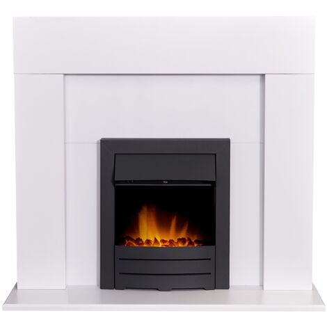 Adam Miami Fireplace in Pure White with Colorado Electric Fire in Black, 48 Inch