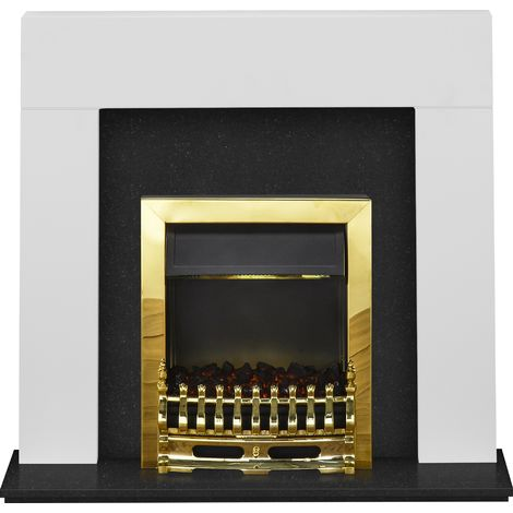 Adam Miami Fireplace Suite in Pure White and Granite with Blenheim Electric Fire in Brass, 48 Inch