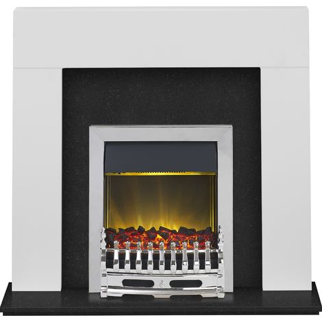 Adam Miami Fireplace Suite in Pure White and Granite with Blenheim Electric Fire in Chrome, 48 Inch