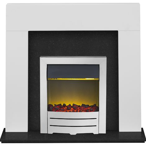 Adam Miami Fireplace Suite in Pure White and Granite with Colorado Electric Fire in Chrome, 48 Inch