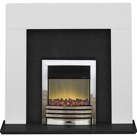 Adam Miami Fireplace Suite in Pure White and Granite with Eclipse Electric Fire in Chrome, 48 Inch
