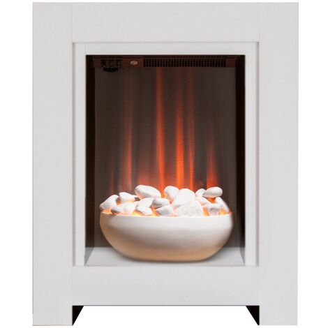 Adam Monet Fireplace Suite in Pure White with Electric Fire, 23 Inch