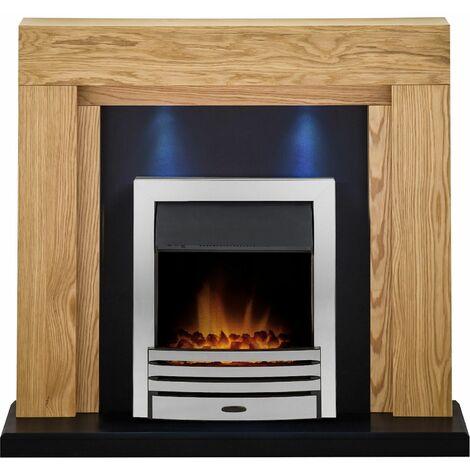 Adam Montana Oak Electric Fire Fireplace Surround Wood Heater Real Flame Chrome