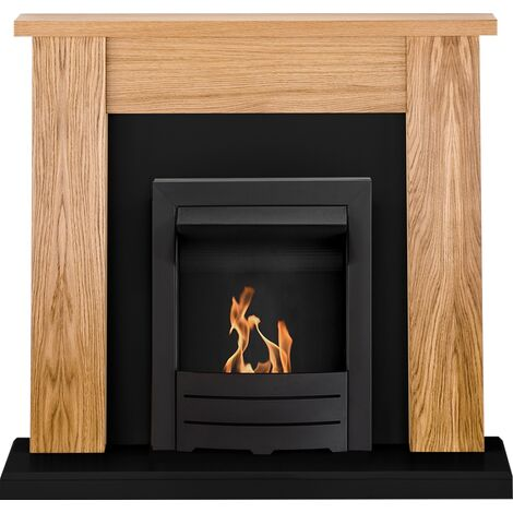 Adam New England Fireplace Suite Oak & Black with Colorado Bio Ethanol Fire in Black 48 inch