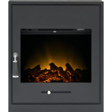 Adam Oslo Electric Inset Stove in Black with Remote Control