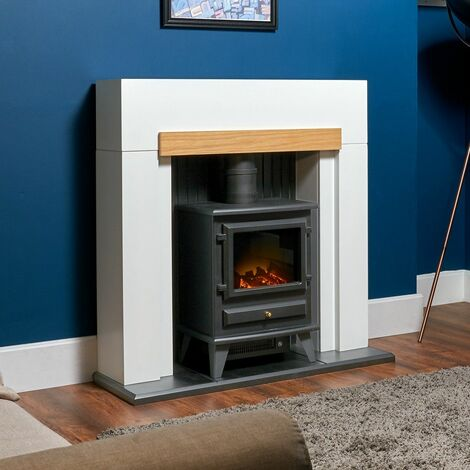 Adam Salzburg Electric Fireplace Stove Fire Heater Heating Real Log Effect Black