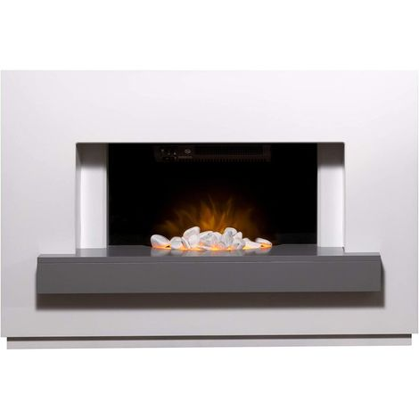Adam Sambro Fireplace Suite in Pure White with Grey Shelf, 46 Inch