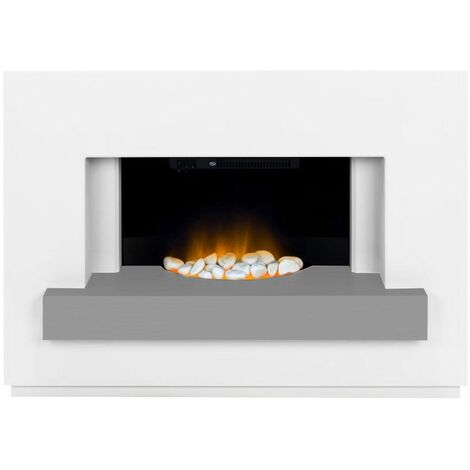 Adam Sambro White Fireplace Suite Electric Fire Heater Heating Flame Effect Grey