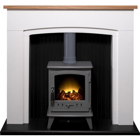Adam Siena Stove Suite in Pure White with Aviemore Electric Stove in Grey Enamel, 48 Inch