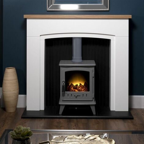 Adam Siena White Surround Electric Fireplace Suite Stove Fire Heater Heating Log
