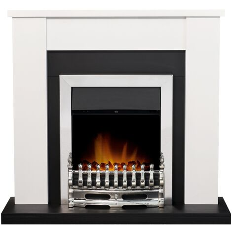 Adam Solus Fireplace Suite in Black and White with Blenheim Electric Fire in Chrome, 39 Inch