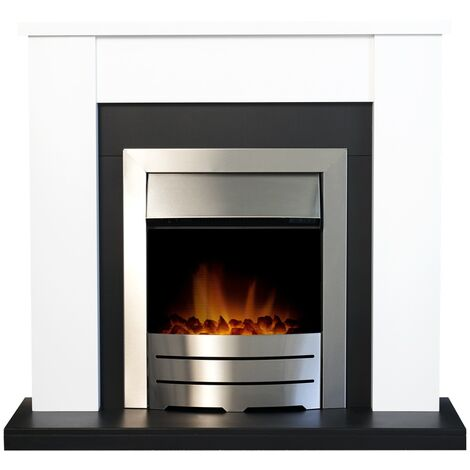 Adam Solus Fireplace Suite in Black and White with Colorado Electric Fire in Brushed Steel, 39 Inch