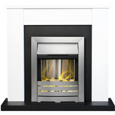 Adam Solus Fireplace Suite in Black and White with Helios Electric Fire in Brushed Steel, 39 Inch