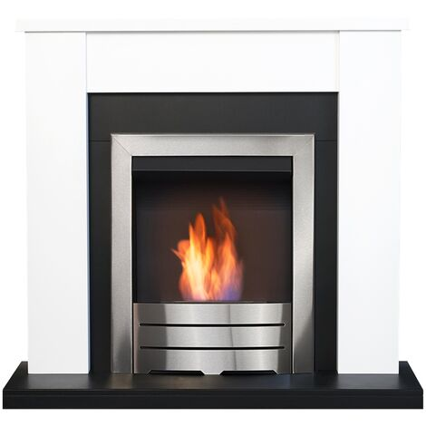 Adam Solus Fireplace Suite in Black & White with Colorado Bio Ethanol Fire in Brushed Steel, 39 Inch