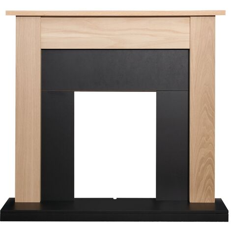 Adam Southwold Fireplace in Oak & Black, 43 Inch