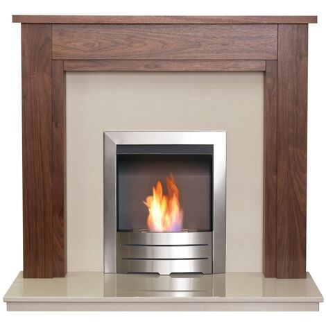 Adam Sudbury in Walnut & Beige Marble with Downlights & Colorado Bio Ethanol Fire in Brushed Steel, 48 Inch