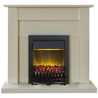 Adam Sutton Fireplace Suite in Cream with Blenheim Electric Fire in Black, 43 Inch