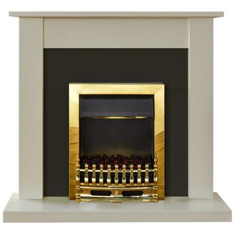 Adam Sutton Fireplace Suite in Cream with Blenheim Electric Fire in Brass, 43 Inch