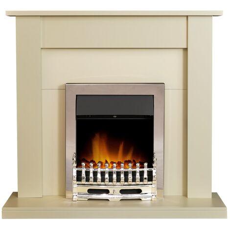 Adam Sutton Fireplace Suite in Cream with Blenheim Electric Fire in Chrome, 43 Inch