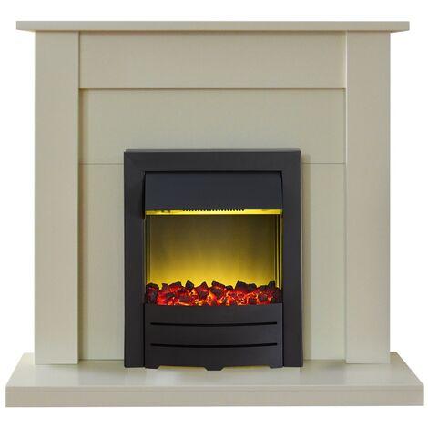 Adam Sutton Fireplace Suite in Cream with Colorado Electric Fire in Black, 43 Inch
