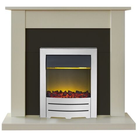 Adam Sutton Fireplace Suite in Cream with Colorado Electric Fire in Chrome, 43 Inch