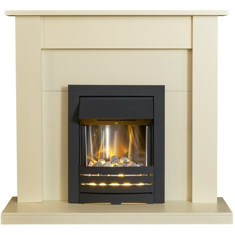Adam Sutton Fireplace Suite in Cream with Helios Electric Fire in Black, 43 Inch