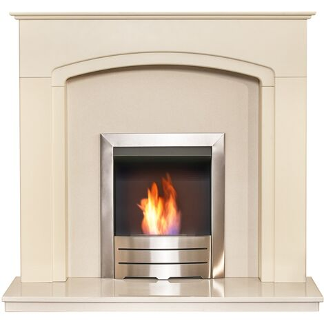 Adam Tamworth in Cream & Beige Marble with Downlights & Colorado Bio Ethanol fire in Brushed Steel, 48 Inch