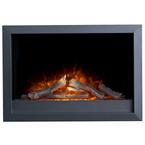 Adam Toronto Electric Wall Inset Fire with Logs & Remote Control in Black