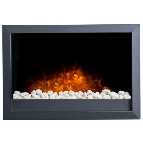 Adam Toronto Electric Wall Inset Fire with Pebbles & Remote Control in Black