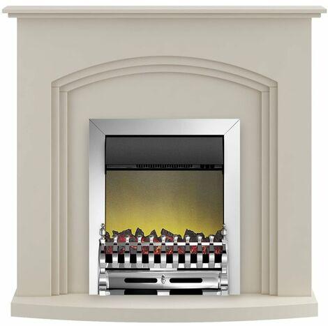 Adam Truro Fireplace Suite in Cream with Blenheim Electric Fire in Chrome, 41 Inch