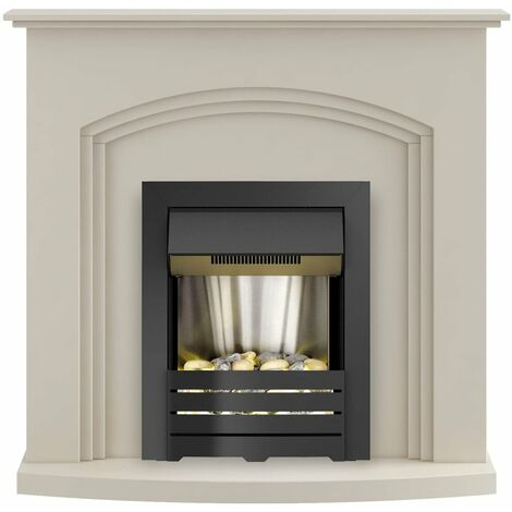 Adam Truro Fireplace Suite in Cream with Helios Electric Fire in Black, 41 Inch