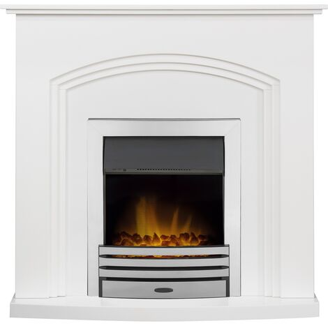 Adam Truro Fireplace Suite in Pure White with Eclipse Electric Fire in Chrome, 41 Inch