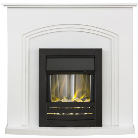 Adam Truro Fireplace Suite in Pure White with Helios Electric Fire in Black, 41 Inch