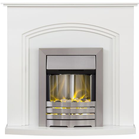 Adam Truro Fireplace Suite in Pure White with Helios Electric Fire in Brushed Steel, 41 Inch