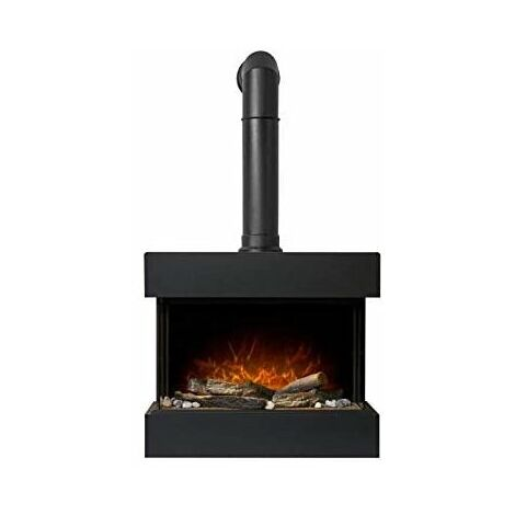 Adam Vega Electric Wall Mounted Fireplace Suite with Stove Pipe & Remote Control in Black