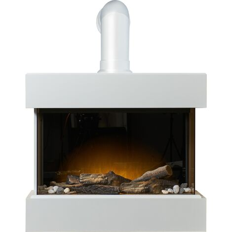 Adam Vega Electric Wall Mounted Fireplace Suite with Stove Pipe & Remote Control in Pure White