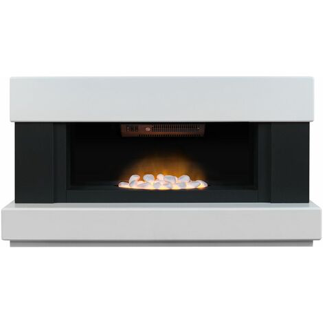 Adam Verona White Electric Fireplace Suite Fire Heater Heating Flame Effect