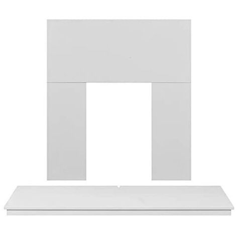 Adam Wooden Back Panel and Hearth Set in Pure White, 54 Inch