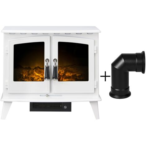 Adam Woodhouse Electric Stove in Pure White with Angled Stove Pipe in Black