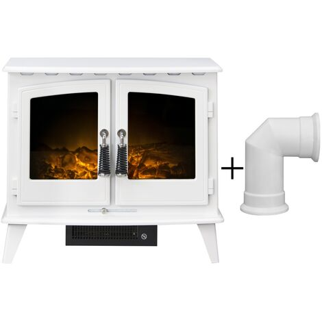 Adam Woodhouse Electric Stove in Pure White with Angled Stove Pipe in Pure White