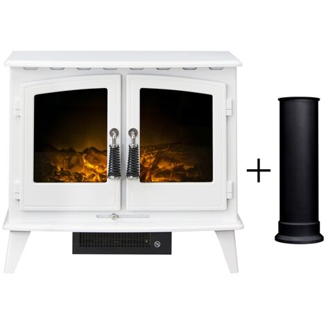Adam Woodhouse Electric Stove in Pure White with Straight Stove Pipe in Black