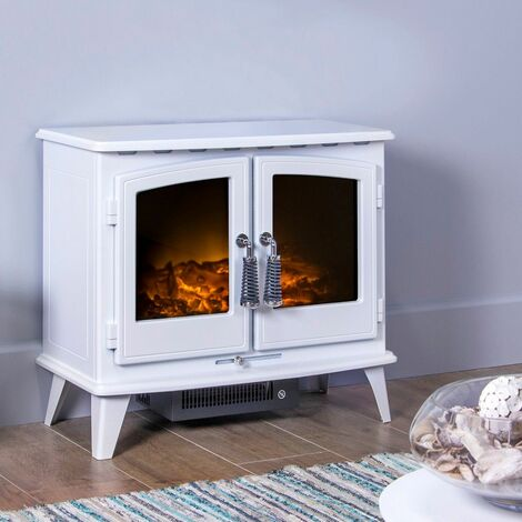 Adam Woodhouse White Freestanding Electric Fire Log Heater Heating Flame Effect