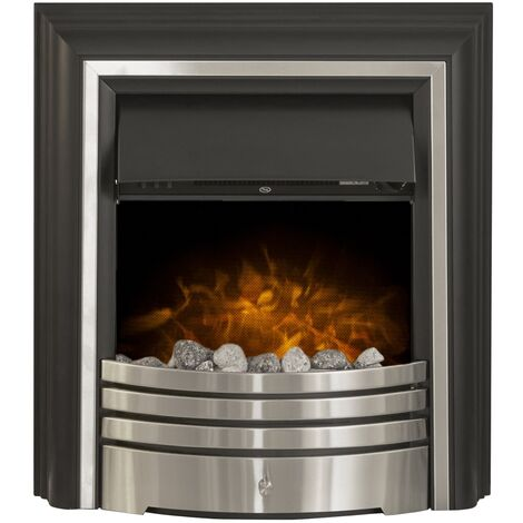Adam York Freestanding Electric Fire in Brushed Steel