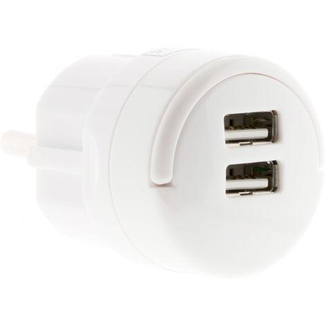 Adaptador 2x USB 2.1A con anillo de extracción blanco - Lifedom