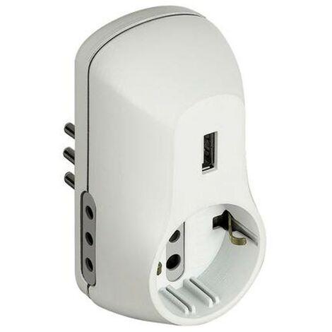 Adaptador B3 2 salidas 10A 1 jack alemán (1) alimentado por USB y enchufe 10A blanco S3613DU