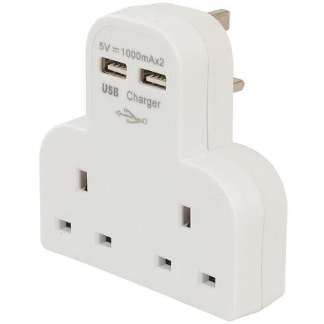 Adaptador con dos tomas de enchufe y puertos USB 2.100 mAh, combinada - NEOFERR