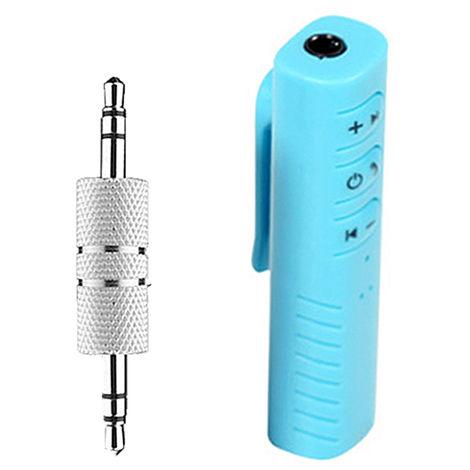 Adaptador de audio de la musica del receptor BT inalambrica estereo de 3,5 mm para el altavoz del coche, azul